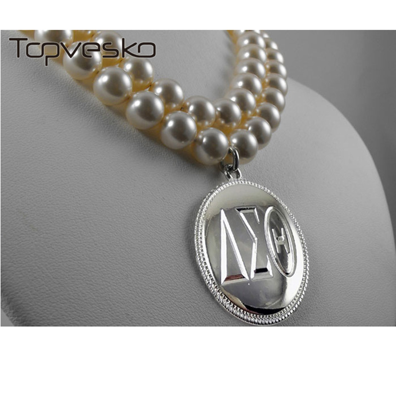 Silver Material Two String Pearl Necklace Silver Gold Tone Delta Sigma Theta
