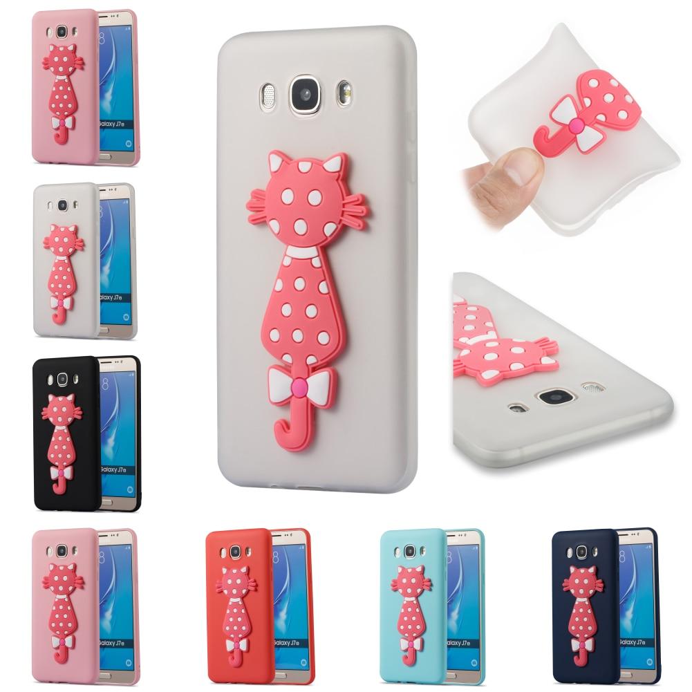 Bag For Samsung Samsug Sumsung Galaxy Galax J7 2016 J710 Cute TPU Silicone 3D Cat Soft Phone Case Cover Kryty Shell Cubierta