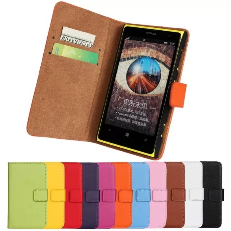 Genuine Leather Wallet Flip Cover Case For Nokia Lumia