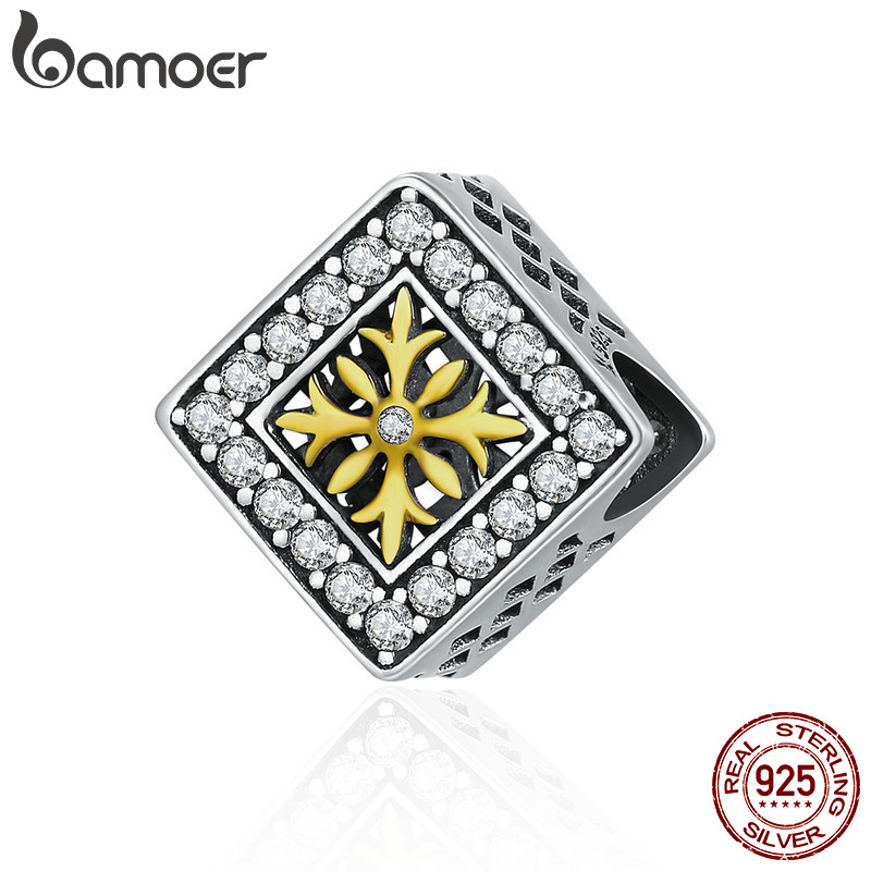 BAMOER Authentic 100% 925 Sterling Silver Square Fashion Snowflake AAA Cubic Zircon Beads fit Original Bracelet Jewelry SCC475