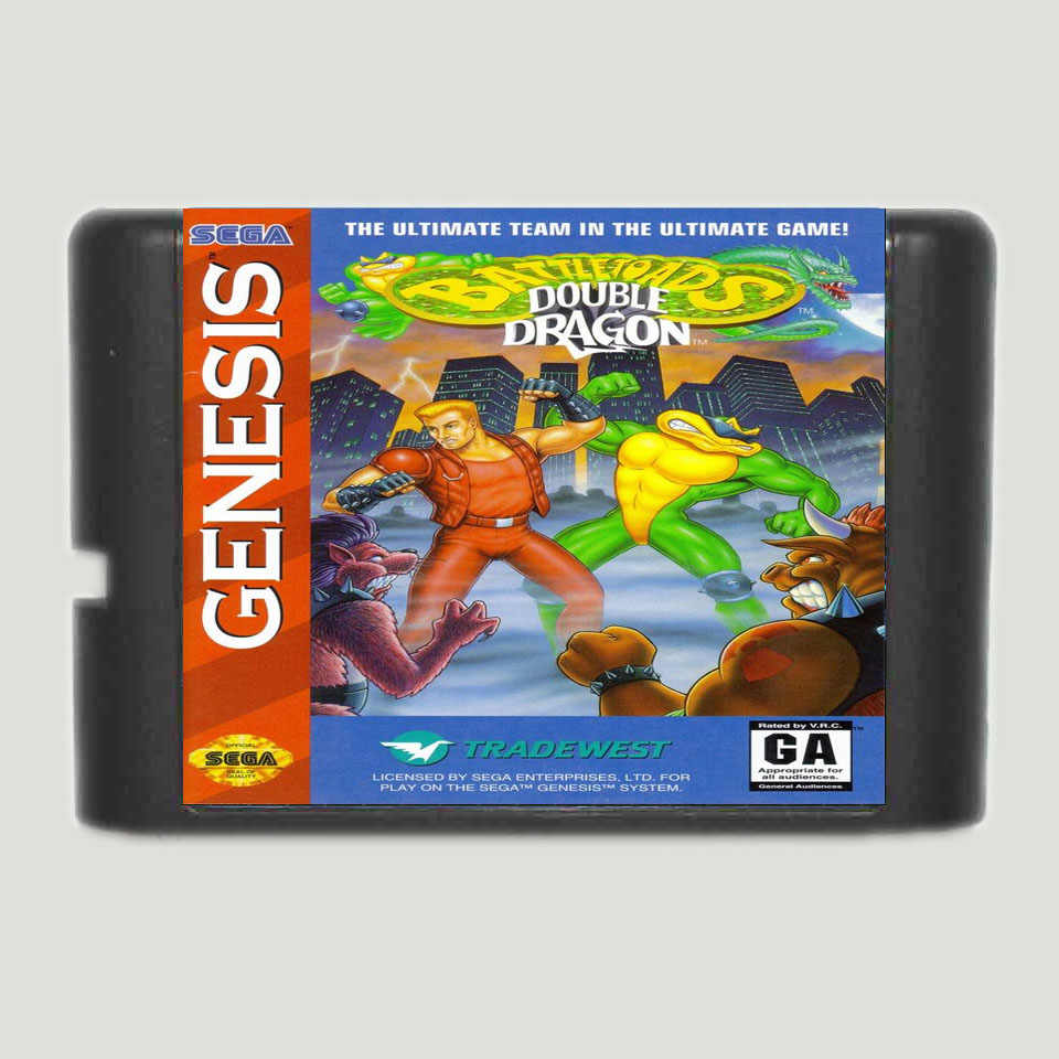 Battletoads And Double Dragon The Ultimate Team 16 bit Game Card For Sega MegaDrive & Genesis System