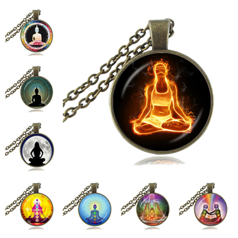 Chakra Necklace Buddha Pendant Yoga Meditation Necklace Reiki Healing Jewelry Spiritual Statement Necklace Om Symbol Necklace