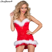 Hot Sale Sexy Miss Santa Cosplays Costumes Deep V Temptation Red Skirt Fancy Game Party Uniforms