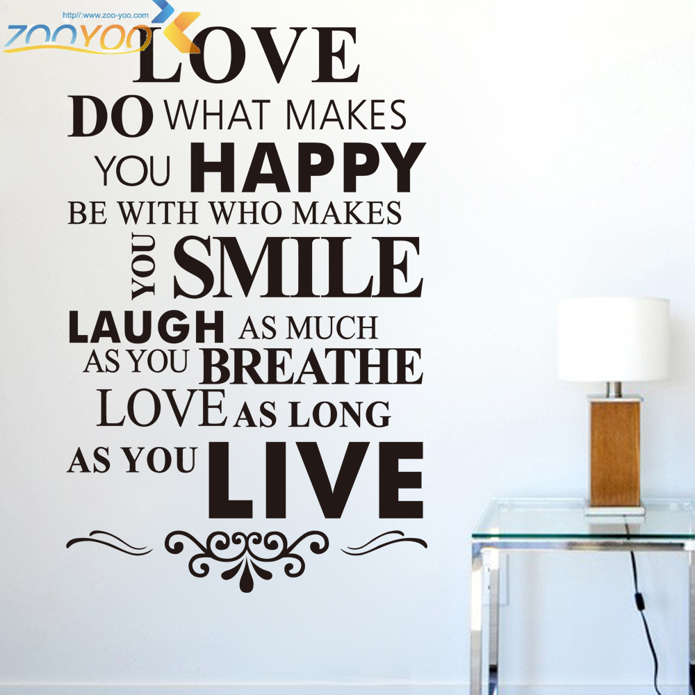 Happy Life Inspirational Quotes Wall Stickers Living Room Bedroom