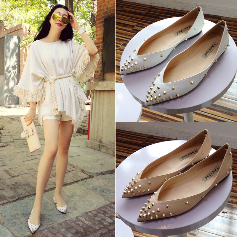 Fashion Rivet Pointed Toe Flat Shoes Women Spring and Autumn Shallow Mouth Flats Plus Size Casual Shoes new 2017 spring summer women shoes pointed toe high quality brand fashion womens flats ladies plus size 41 sweet flock t179