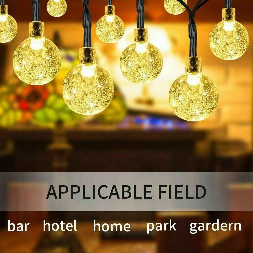 Luces Exterior Solar Cadena de Bola Cristal Luz 11m 60LED Sendowtek Luces Decorativas Solar de Interior y Exterior para Patio Jard/ín Boda Fiesta Navidad Luces de Burbuja de Hadas Blanco C/álido