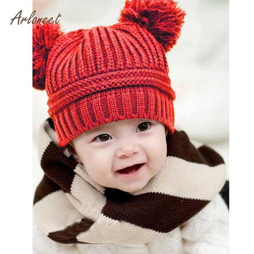 8d40b780c01 ARLONEEN Fashion Cute Baby Kids Girl Boy Dual Balls Warm Winter Knitted Cap  Hat Beanie High