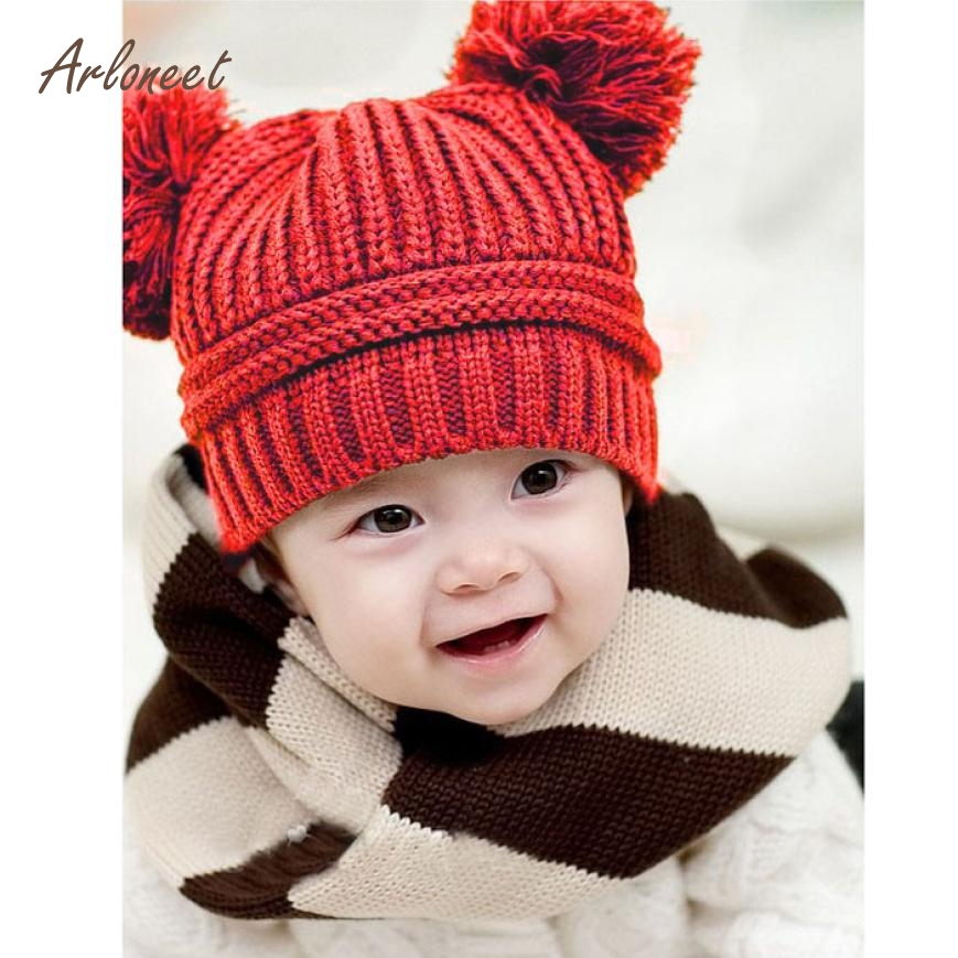 ARLONEEN Fashion Cute Baby Kids Girl Boy Dual Balls Warm Winter Knitted Cap Hat Beanie High Quality Dropshipping Fre05