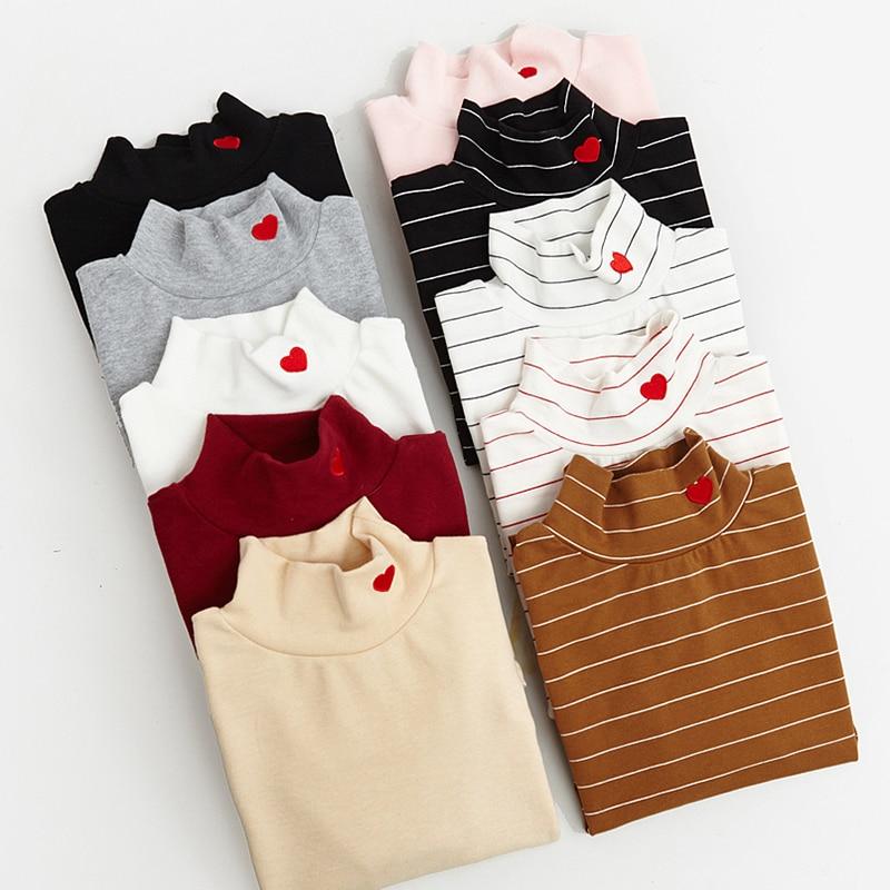 Women Harajuku Heart Embroidery Love Small Elastic Turtleneck Thickening Basic T Shirt Female Kawaii Punk Tops