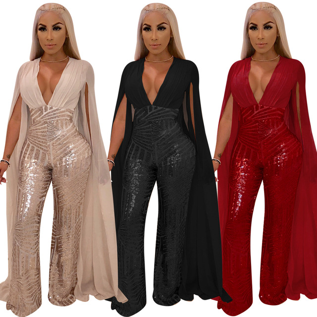 Summer Rompers Women Straps Jumpsuits Loose Casual Sexy V Neck  Sleeveless Wide Leg Pants