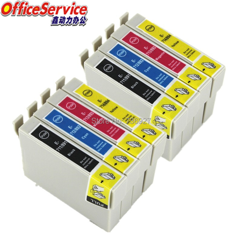 Compatible Ink T0711 to T0714 For <font><b>Epson</b></font> Office B40W <font><b>BX300F</b></font> BX310FN Stylus D78 D92 D120 DX4000 SX209 DX4450 SX115 S21 printer image