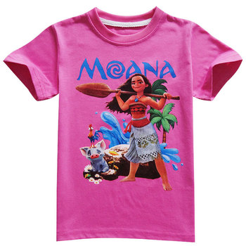 Disney princess Girl shirts T-shirt Moana Ocean Romance Children kids short sleeve T-shirt summer