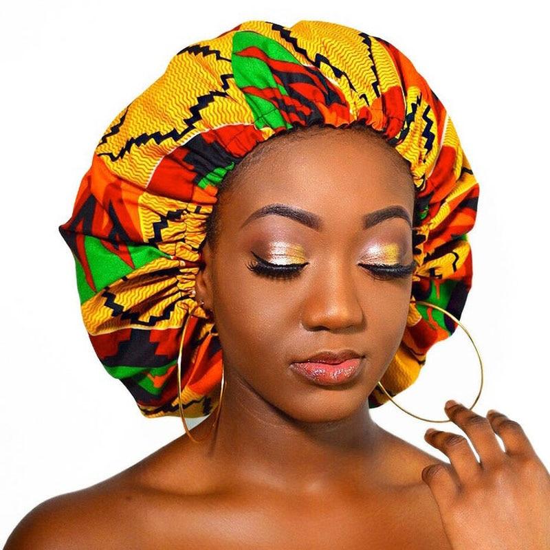 12 Pcs/lot Whole Extra Large Satin Lined Bonnets Women African Pattern Print Fabric Ankara Bonnets Night Sleep Hat Ladies Turban