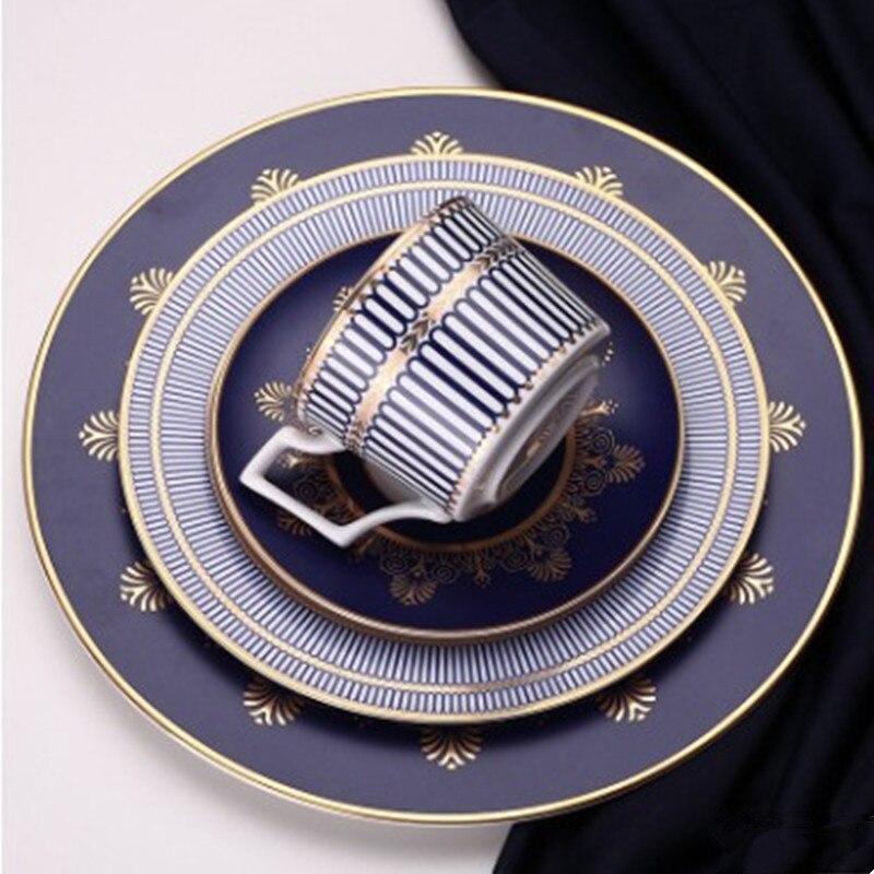 Assiette Plate en céramique | Plateau à Steak, tasse et soucoupe os service de vaisselle chinoise dîner élégant plat bleu décoration de la maison, ensemble d'assiettes 1 pièces