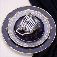 Ceramics Blue Flat Plate Elegant Bone China Steak Tray Dinnerware Set Dinner Dish Cup And Saucer Home Decoration Plate Set 1pcs