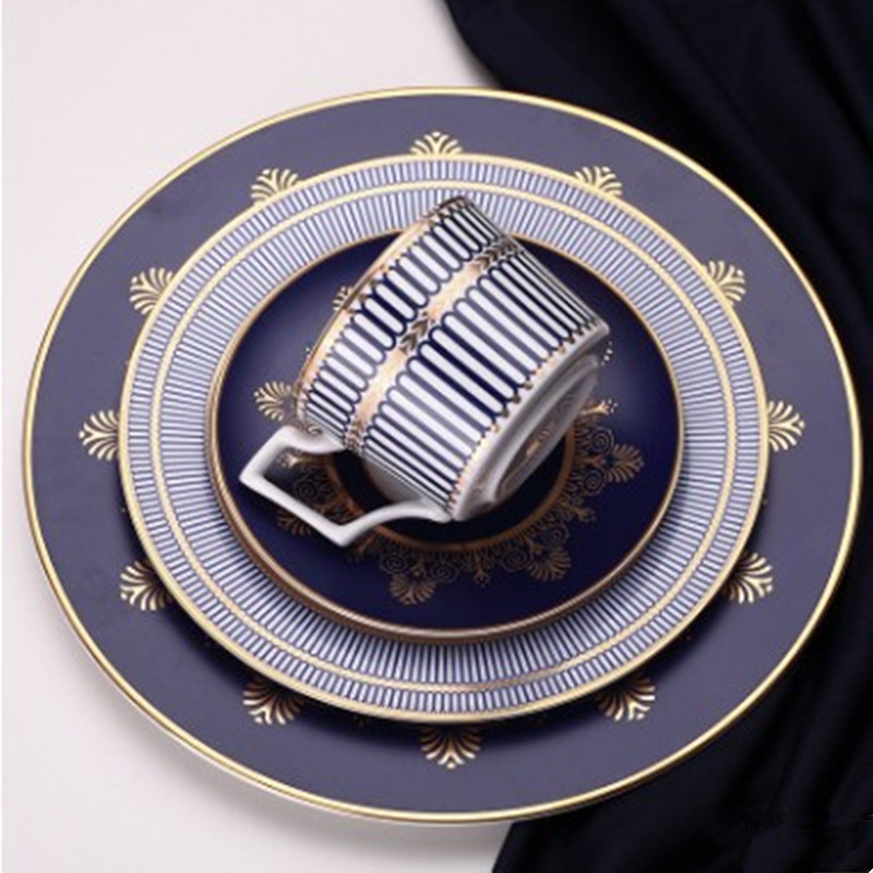 Ceramics Blue Flat Plate Elegant Bone China Platter Porcelain European Style Dinner Dish Cup And Saucer Home Decoration 1 Pcs