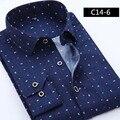 Camisas de vestir de los hombres 2016 nueva marca de alta calidad de la manera Delgada de la solapa de manga larga camisa de algodón tamaño M comercio m-4XL