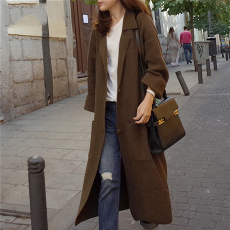 Female Oversized Knitted Cardigans Long   Trench   Coat 2019 Autumn Winter Womens Sweaters Ladies Thin Cashmere Coat Cardigan A1598