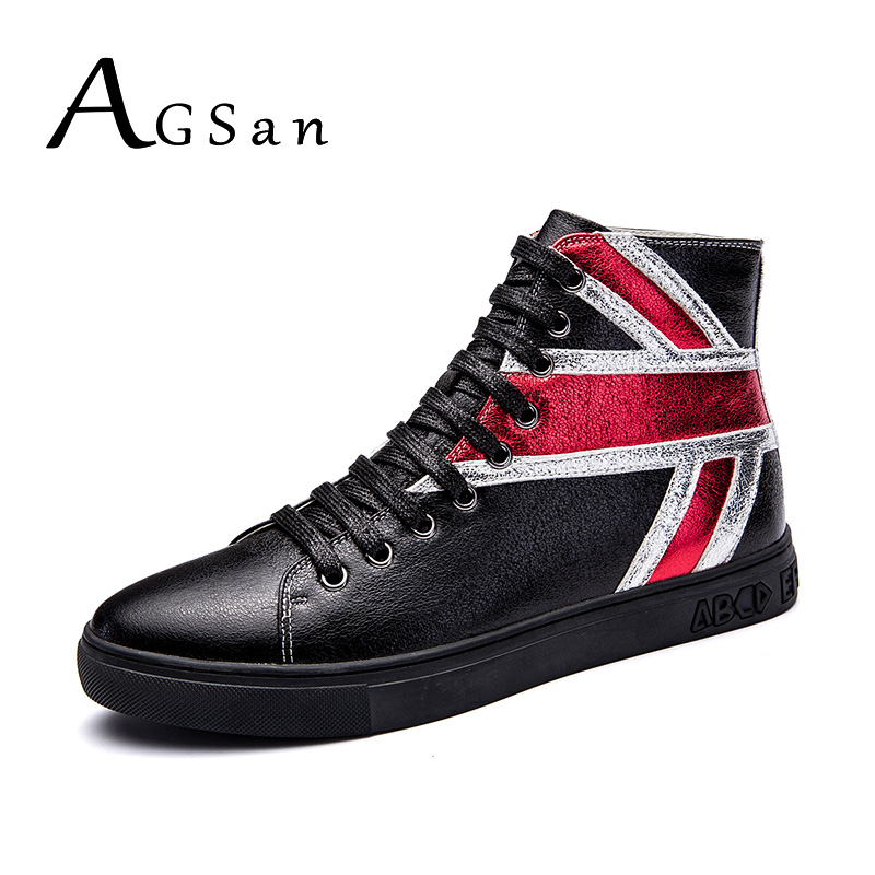 AGSan men boots genuine leather england style fashion ankle boots for men 2017 autumn winter lace up high top zapatillas hombre free shipping men s fashion mixed colors western ankle boots full grain leather england style motorcycle boots for men