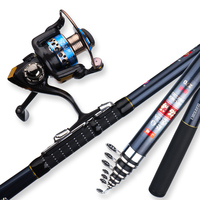 Lawaia Carbon Fiber Telescopic Fishing Rod Full Kit 1.8 3.6m Ultra light Portable Fishing Rod And Reel 8+1 Bearings Fishing Reel
