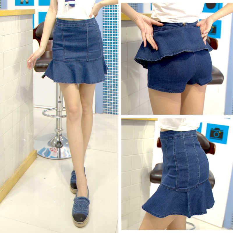 d3b212ae15d45b plus size skirts womens 2016 summer style vestido feminina denim jeans high  waist skirt Fishtail flounced