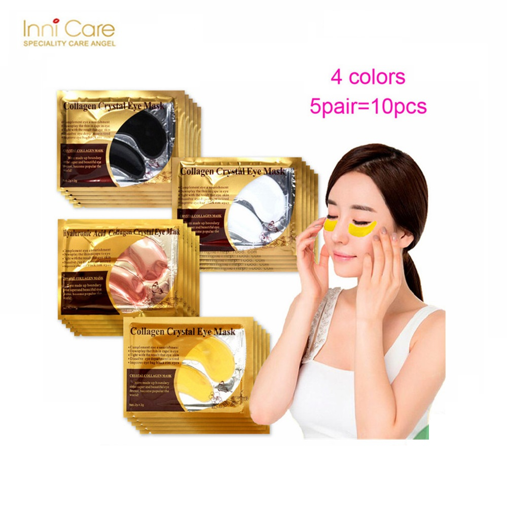 10Pcs=5Pairs Beauty Korean Cosmetics 24K Gold Collagen Eye Mask Eye Patches Dark Circle Puffiness Patches For Eye Skin Care