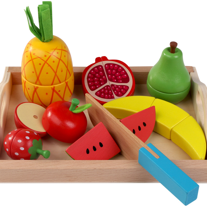Candywood Baby kids Wooden Pretend Kitchen Toys Cutting Fruit Vegetables Fish Simulation food boy girl cook education toys