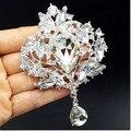 4 дюймов огромный новинка большой капли воды кристалл роскошный цветок ну вечеринку платье брошь элегантный свадебный букет невесты броши