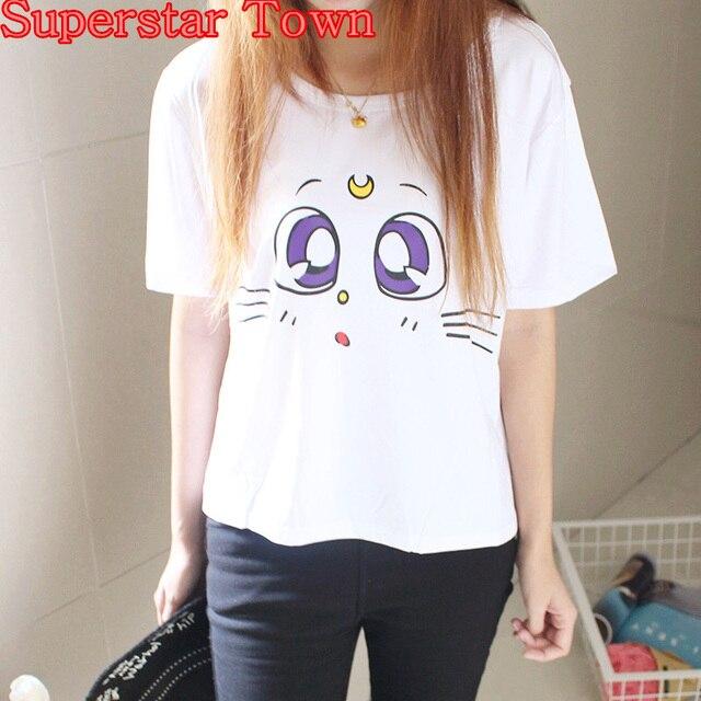 3e89cd82 Japanese Kawaii Clothes Anime Cartoon Sailor Moon LUNA Cat Eyes T-Shirt  Harajuku Shirt Cute White Peplum Tops Tee Blusa Roupas