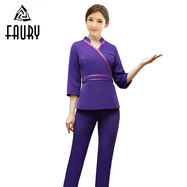 New Fashion V Neck Women Beauty Salon Spa Massage Work Wear Nurse Half Sleeve Tops Pants Clothing Waistband Farmacia Uniforms