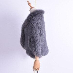 Image 2 - Kış kadın gerçek tavşan kürk örme tilki yaka ceket eğlence zamanı saf renk kürk ceket kadın moda kürk örgü yarasa gömlek