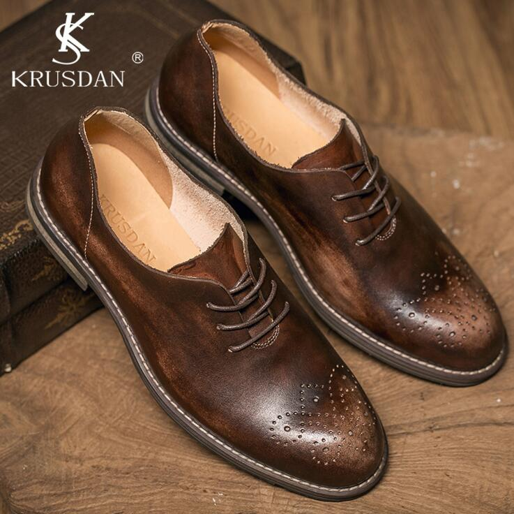 [krusdan]2017 Quality Genuine Leather Retro Bullock Men Flats Shoes Casual British Style Men Oxfords Fashion Brand Dress Shoes relikey brand men casual handmade shoes cow suede male oxfords spring high quality genuine leather flats classics dress shoes