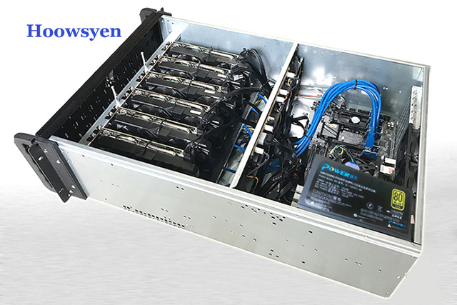 US $89 98 |Riser mining case gpu ETH/ETC/ZEC/XMR 4U server chassis rack  professional mining support 6 graphics industrial PC chassis-in Computer  Cases