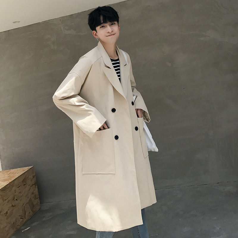 2017 Autumn New Men Fashion Double Breasted Loose Casual Trench Jacket Windbreaker Male Long Cardigan Coat Outerwear