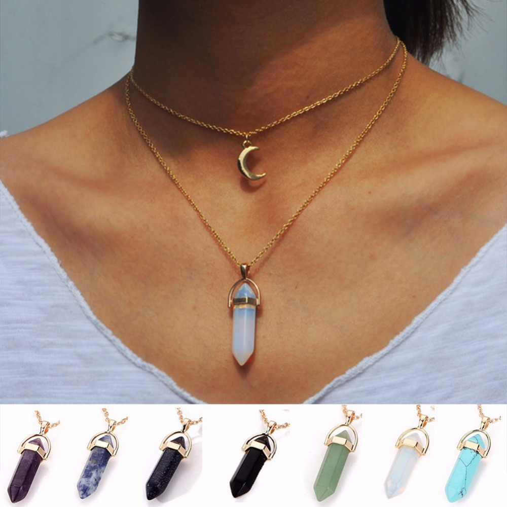 Vintage 2 camada natural opala pedra pingente gargantilha colares cor de ouro lua colar para jóias femininas collier femme #229163