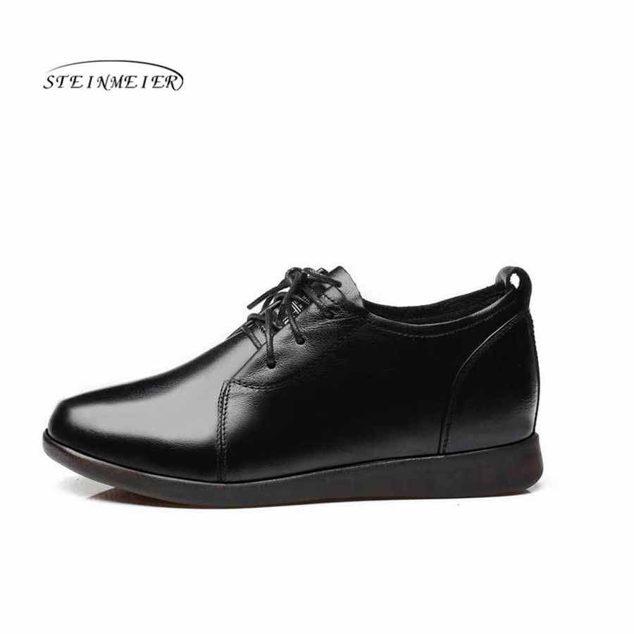 À Cuir Doux Black 2018 Talon Lacets Chaussures Appartements Femmes Maman Plat Mocassins Véritable Enceinte Noir En Dames RIIOYHqx
