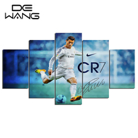 5 Panel Canvas Art Paintings Printed Real Madrid Ronaldo Painting For Living Room Wall Art Print