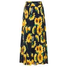 Wipalo verano otoño mujeres falda girasol imprimir alta cintura Boho falda  señoras Vintage gasa plisada algodón forrado faldas a. 7ad97b0b3a23