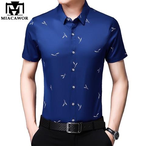 MIACAWOR Men Shirt Summer Short Sleeve Shirts Men Fashion Streetwear Print Shirts Male Casual Shirts Camisa Masculina C511 Pakistan