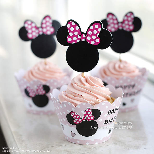 Placeholder Free Shipping Minnie Mouse Cupcake Toppers Picks Wrappers Birthday Party Decorations For Girls Kids Baby Shower