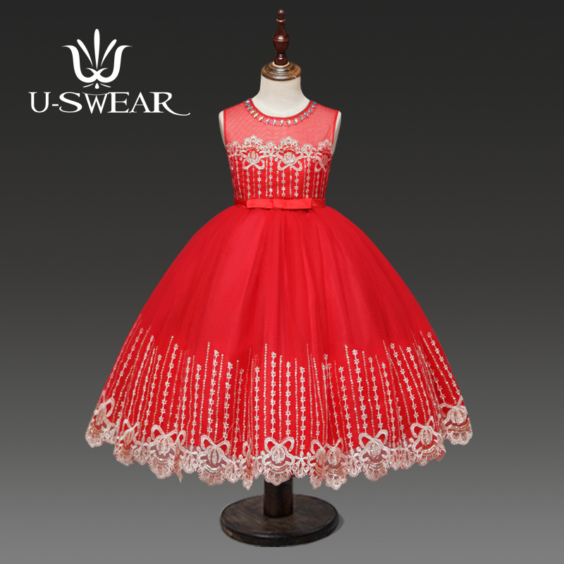 U-SWEAR 2019 New Arrival Kid   Flower     Girl     Dress   O-Neck Crystal Beaded Embroidery Lace Flora Chiffon   Girl   Ball Gown Vestidos