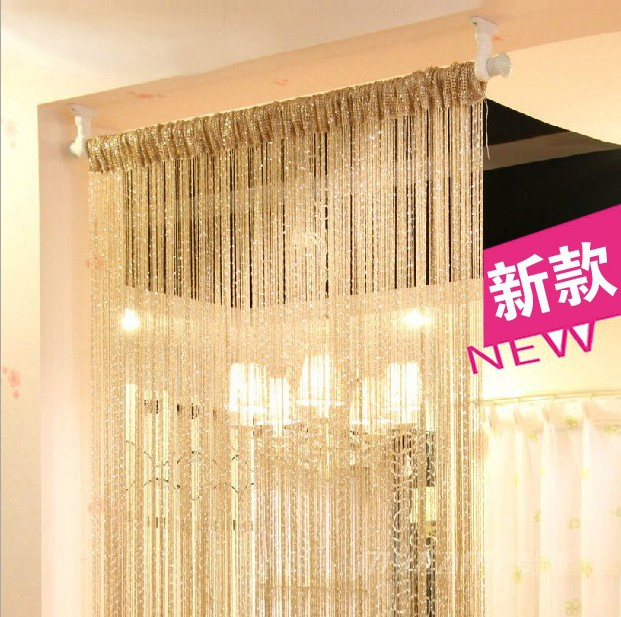 6 Colors Vogue Curtain Silver Silk Tassel String 200cm X 100cm Door Window Living Room Divider