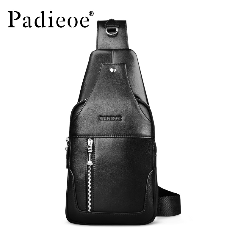 Padieoe Brand 2017 New Design Fashion Black Genuine Leather Bag Chest Pack Men Messenger Bags Business Casual Shoulder Bags