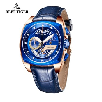 2021 Reef Tiger/RT Top Brand Sport Watch for Men Luxury Blue Watches Leather Strap Waterproof Watch Relogio Masculino RGA3363 2
