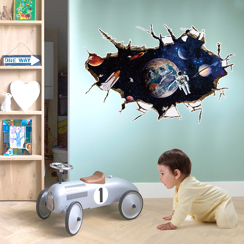 2016 new 3d outer space design wall stickers for kids room for Space wallpaper for kids room
