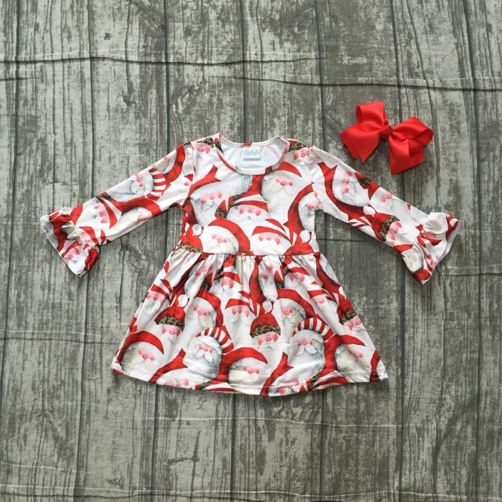 купить Christmas fall/winter baby girls cotton outfits red ruffle dress Santa milk silk children clothes boutique match accessories set недорого