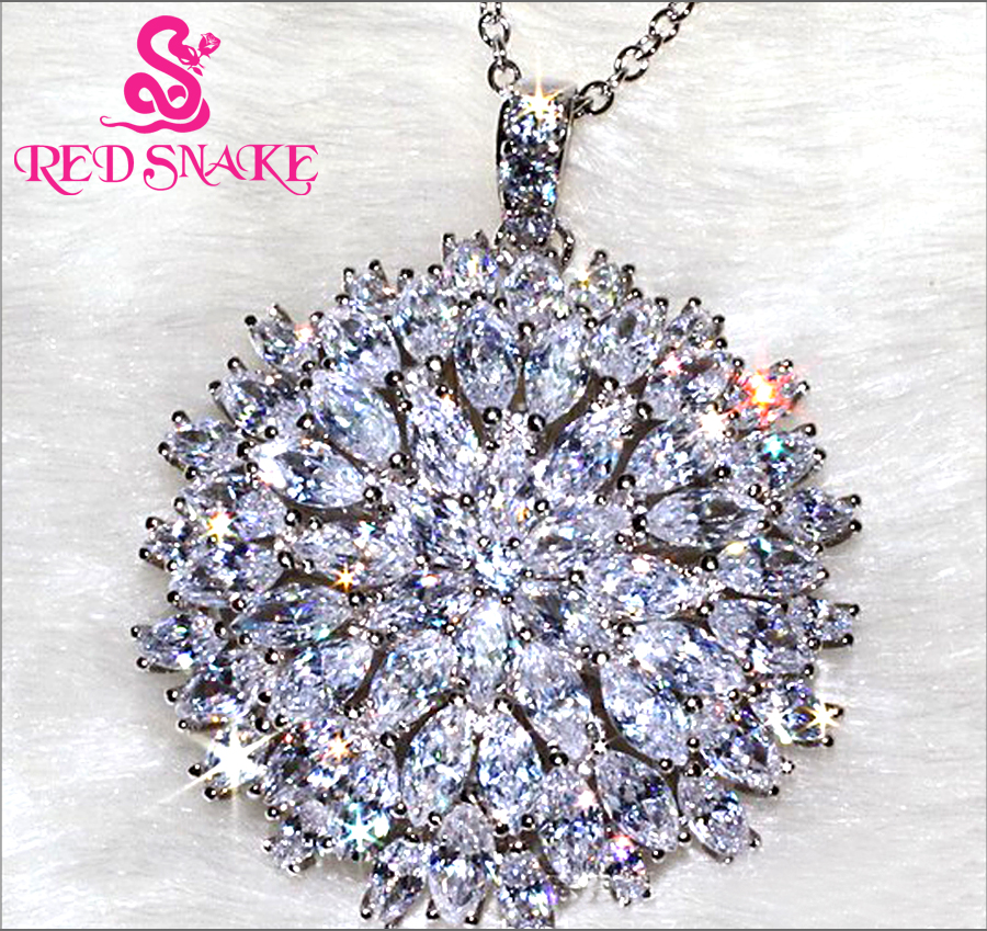 RED SNAKE Brand Product Micro Insert Sun Flower Design Fashion Jewelry Round Pendant for Women 3A Zircon 65 Grain Pebble