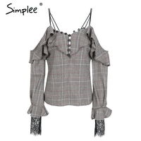 Simplee Sexy Lace Cold Shoulder Blouse Shirt Women Strap Ruffle Plaid Feminine Blouse Casual Button Summer