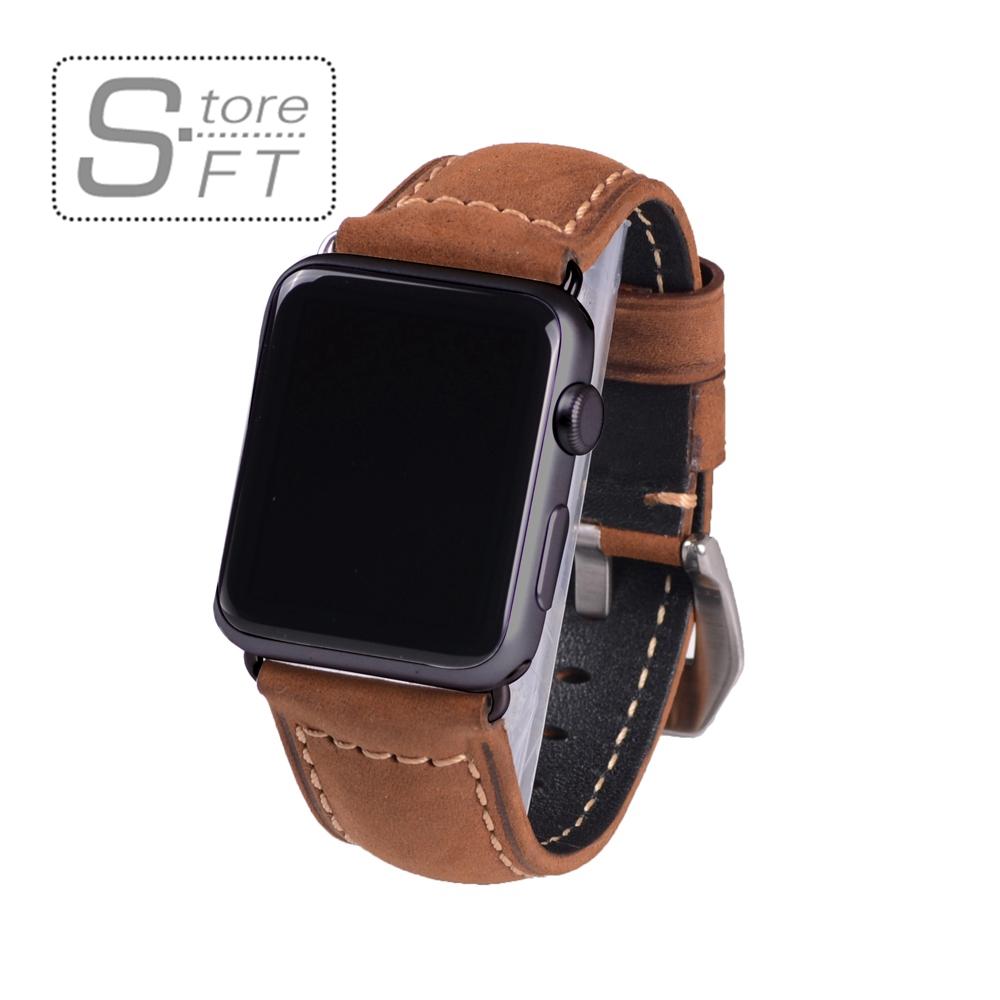 Prix pour Classique véritable fou cheval brun montre en cuir bande pour apple watch i watch 38mm & 42mm noir adaptateur