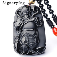 Black Obsidian Buddha Necklace Pendant Guan Yun Dragon Jade Pendant Jade Fine Jewelry Bead Gift tray with Box Jewelry